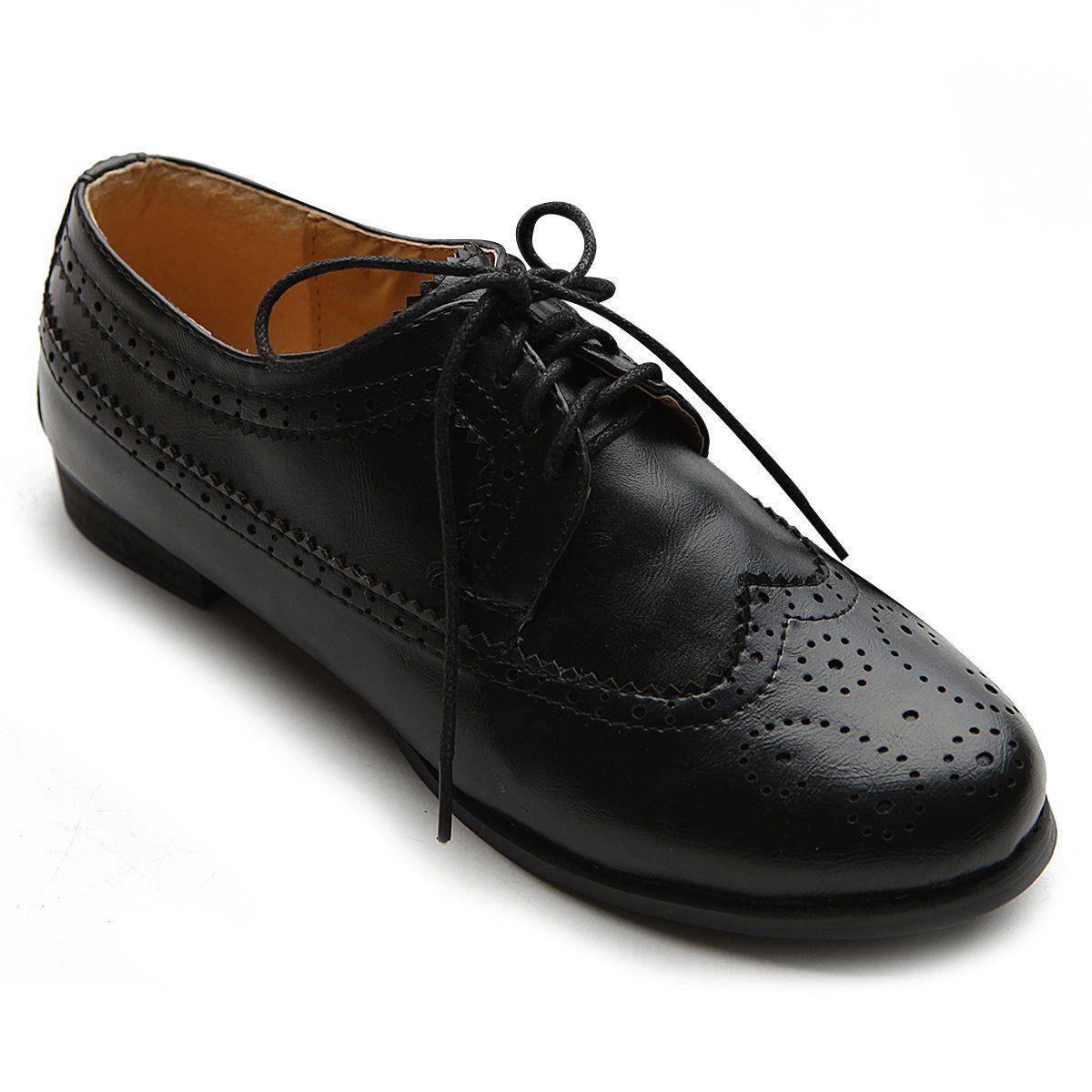 Amazon Com Ollio Women S Shoe Lace Up Low Heels Wingtip Dress Oxford 5 5 B M Us Black Shoes Shoe Laces Dress Shoes Men Shoes [ 1200 x 1200 Pixel ]