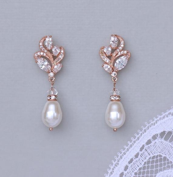 Bridal Earrings, Rose Gold Wedding Earrings, Pearl ...