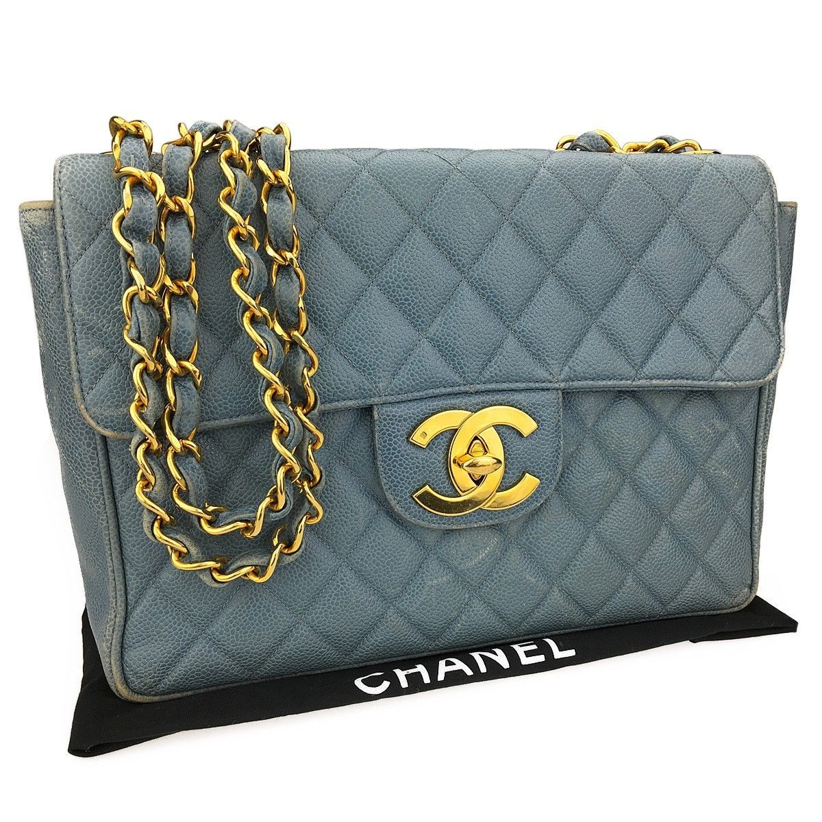 ba8093d3cada Auth CHANEL Matelasse Jumbo Light Blue Caviar Skin Leather Chain Shoulder  Bag
