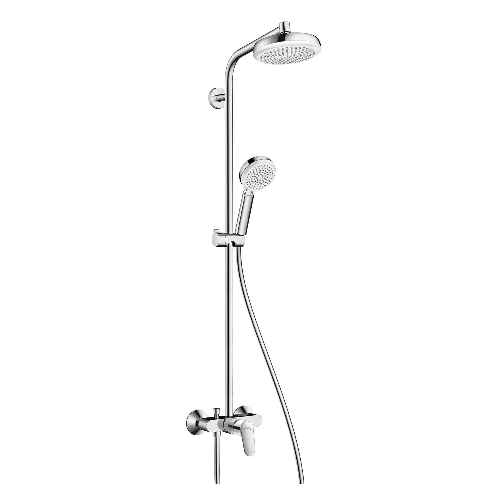 hansgrohe crometta 160 1jet showerpipe with single lever mixer apart industriel pinterest. Black Bedroom Furniture Sets. Home Design Ideas