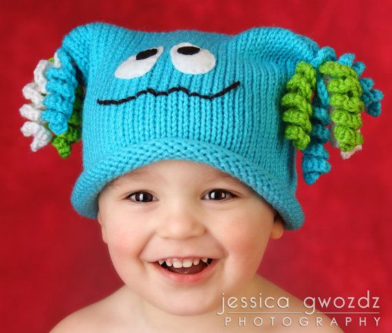 Monster Hat Pdf Knit Pattern All Sizes On By Charbridgecrafts 500