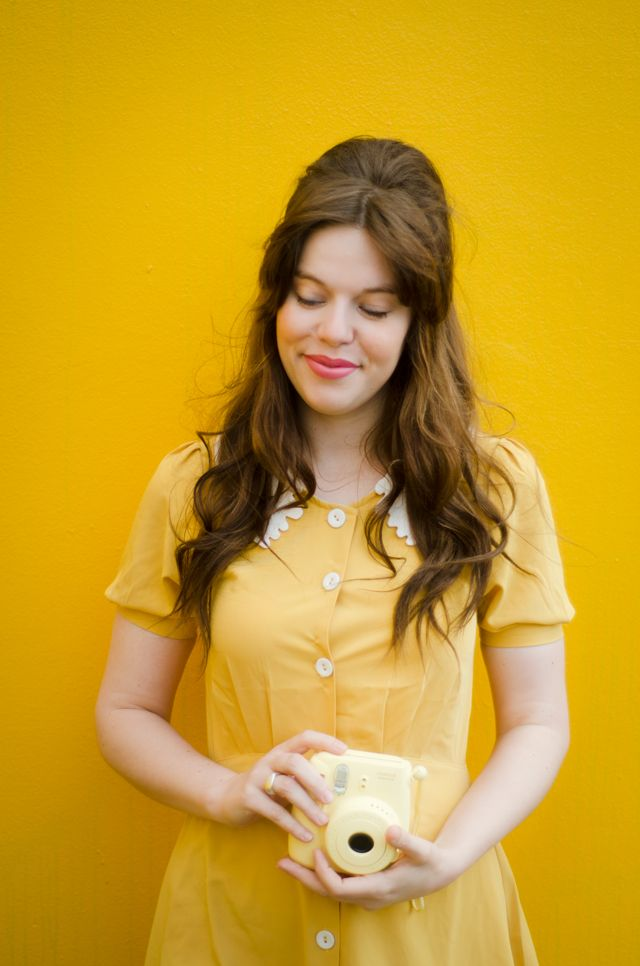 4bae55a9a413c6 Gorgeous mustard yellow dress! Jo at Lost In The Haze rocks this look so  hard! | #instax #ootd
