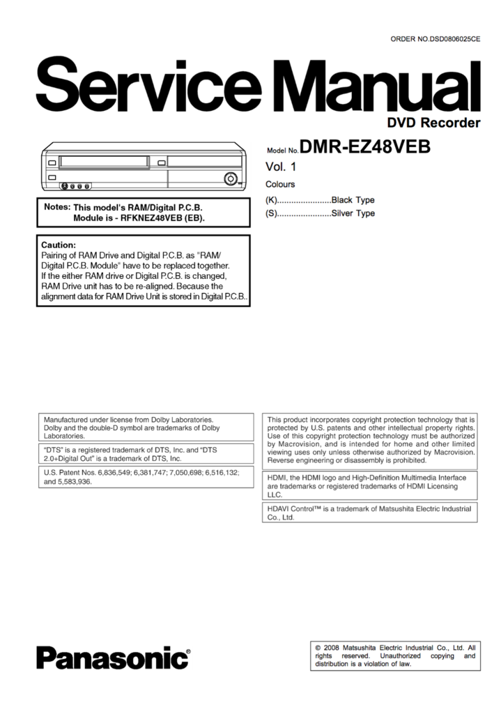Panasonic Dmr Ez48veb Service Manual Complete Manual Panasonic Typed Notes
