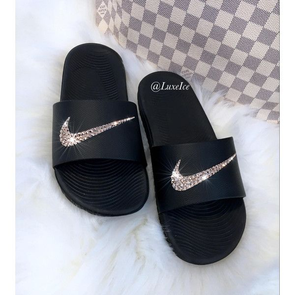 156fed55a Nike KAWA Slides Black Flip Flops customized with Swarovski Crystals ( 65)  ❤ liked on Polyvore featuring shoes