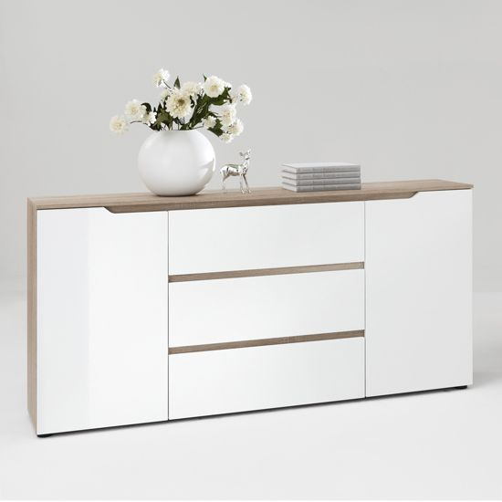 Diva1 Buffet Sideboard in Gloss White/Oak | Consoles ...