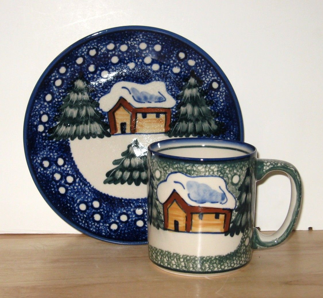 Polish Pottery Winter Cabin Polish Pottery Patterns