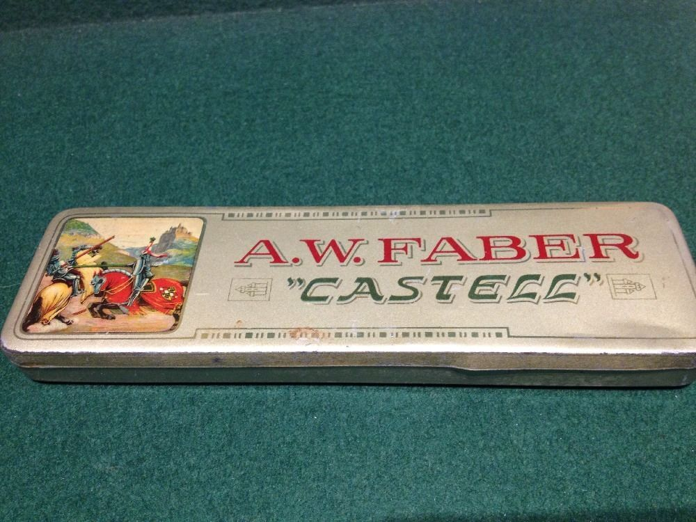 vintage aw faber castell pencil tin  german  faber