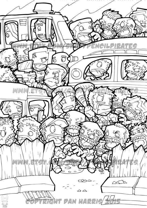 Zombie Car Park Massacre Colouring Page Adult By PencilPirates