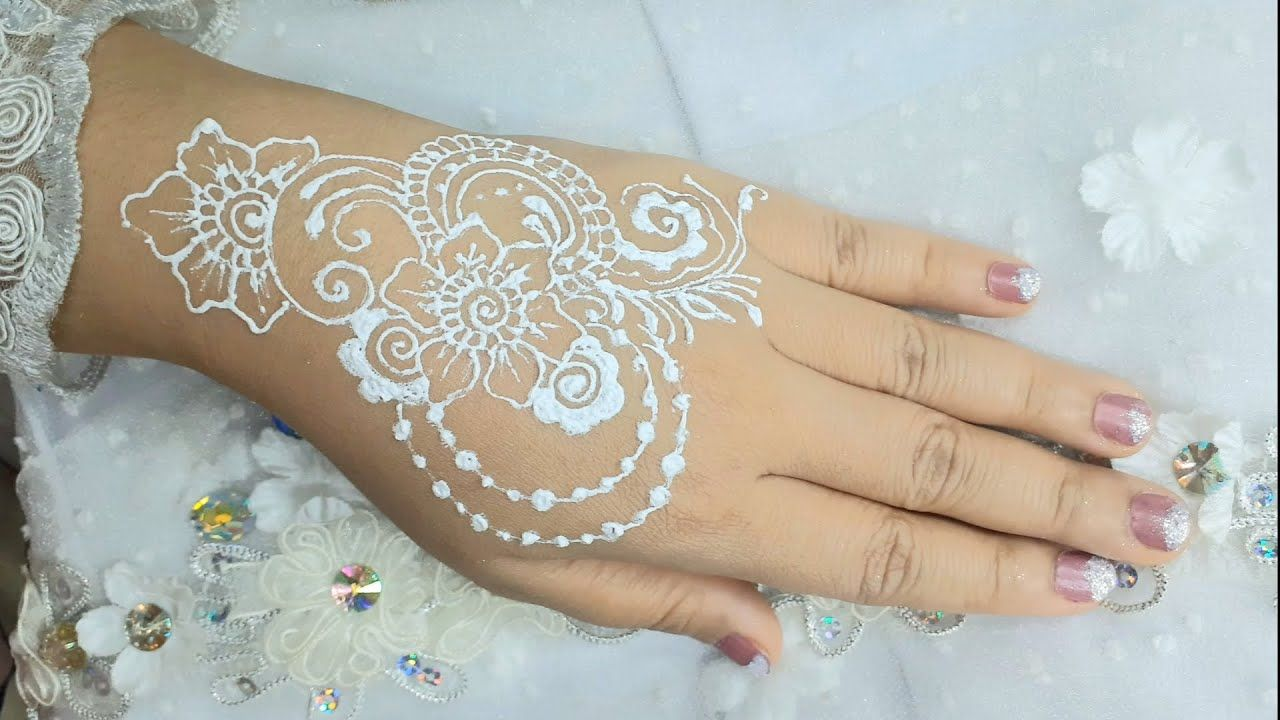 Latihan henna putih motif bunga mudah simpel | simple henna | white henna | White henna designs ...