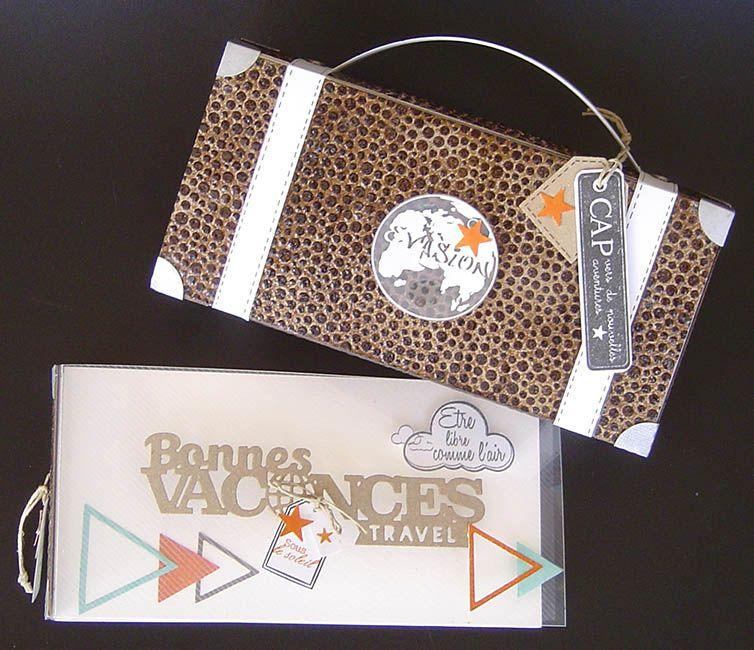 """Kit """"Dans ma valise"""" : sur le thème du voyage, un coffret Valise en #FlexPlak embossé qui contient un album photos en #Priplak Lines, Priplak imprimé, papier aquarelle et Flex'Plak, réalisé par Sophie-Stillscrap pour Laura Pack Boutique. Fiche technique fournie."""