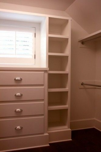 My walk-in closet will also have a window. So this is a good idea. The cabinet's top can showcase accessories and the shelves on the right can store my bags.