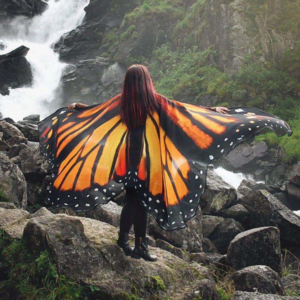 Women Beach Scarf Pashmina Butterfly Wing Shawl Wrap ...