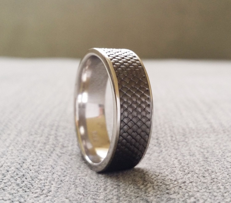 Black Rhodium Over White Gold Rustic Mens Wedding Band Ring Celtic Nordic  Snake Skin Dragon Textured Viking 14k White Gold