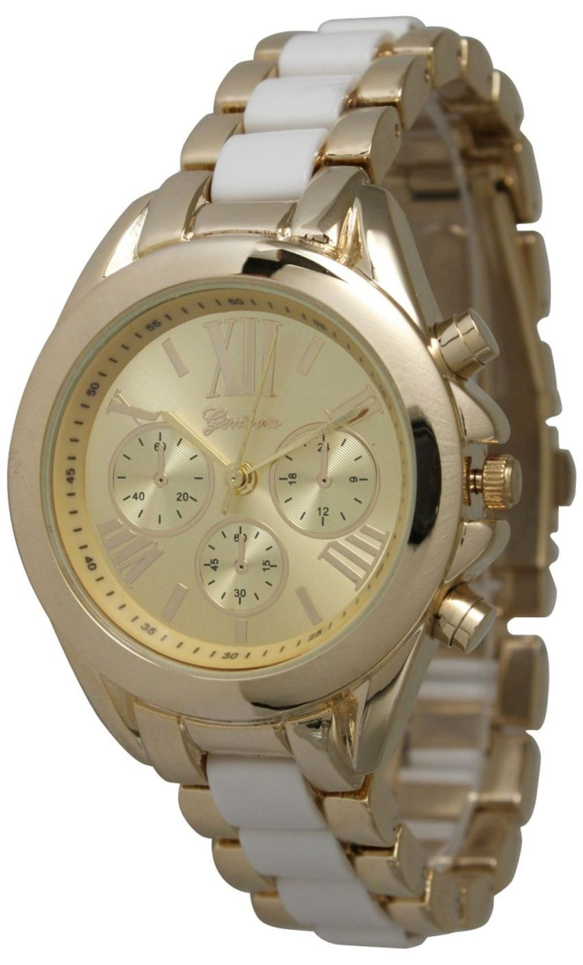 Women's Small Roman Numeral Gold Plated Metal/Nylon Link Watch - White