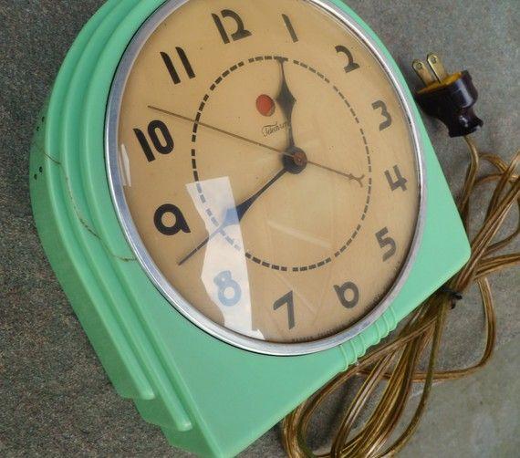 Art Deco Jadite Wall Clock Telechron Buffet Vintage Etsy Art Deco Clock Clock Retro Clock