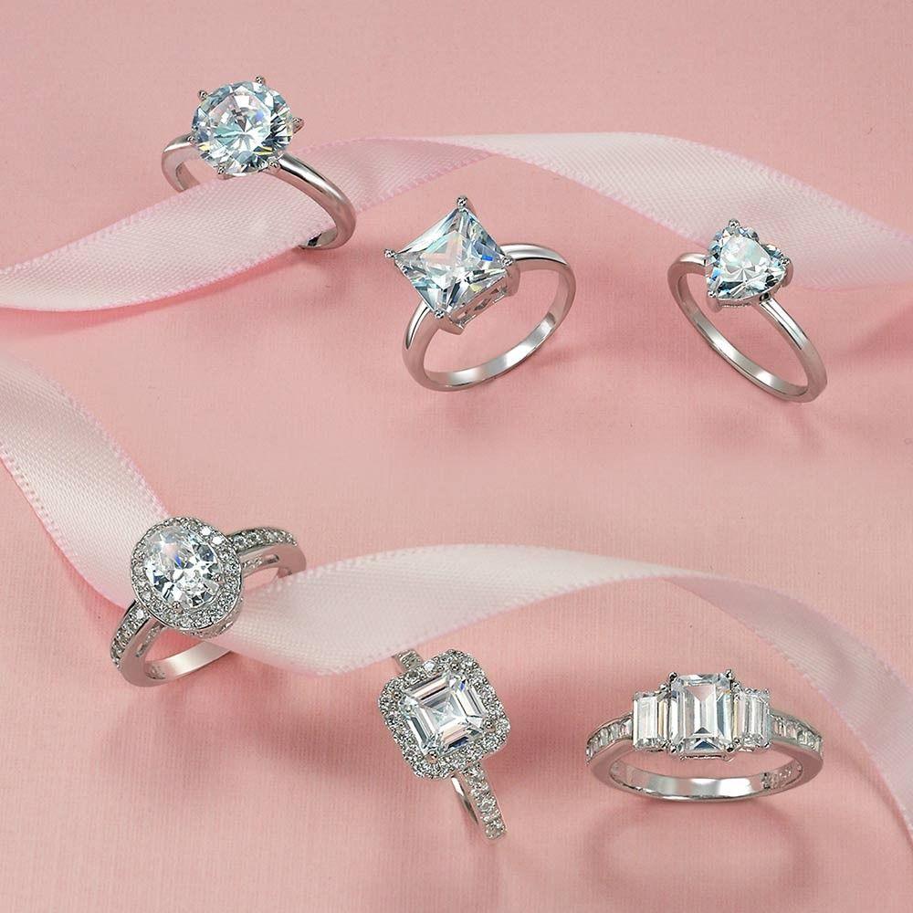 Great Gatsby Inspired Asscher Cut CZ 3 Stone Engagement Ring 925 ...