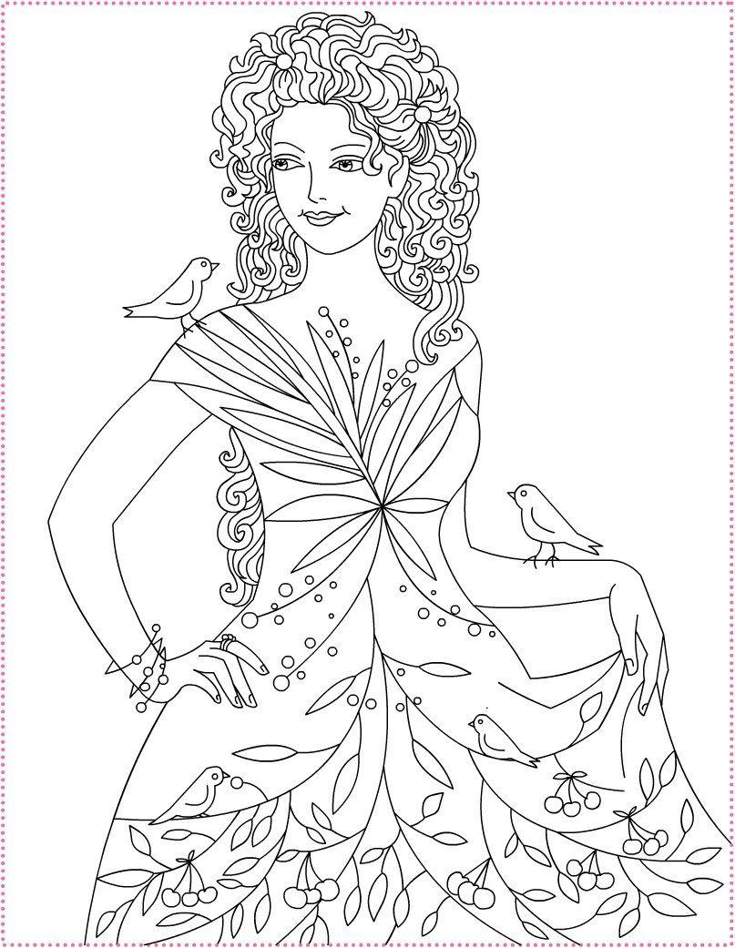 nicoles free coloring pages summer princess coloriage la princesse de lete