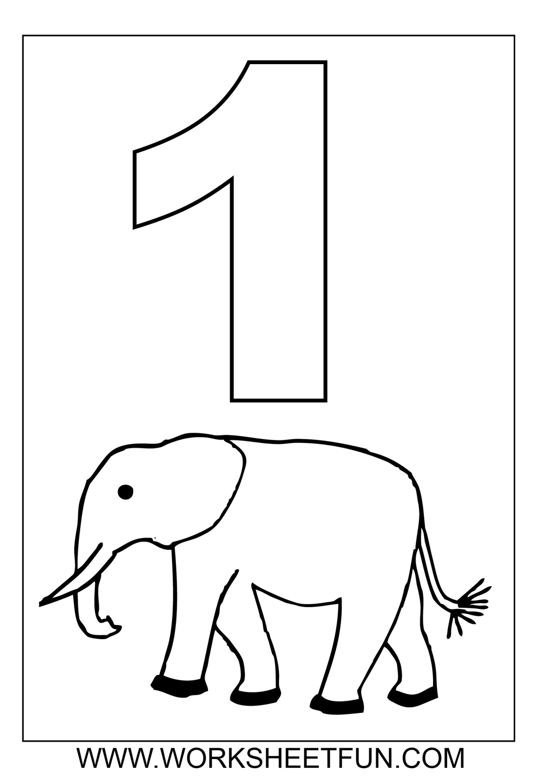 Numbers Coloring Worksheets Counting Number 1 Elephant