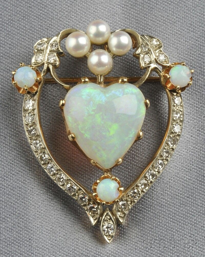 Opal cultured pearl and diamond pendantbrooch set with a heart