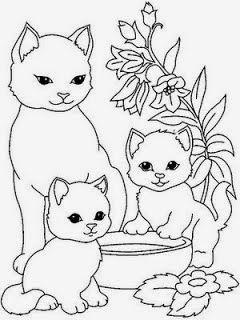 desenhos de gatos e gatinhos para colorir pintar e imprimir