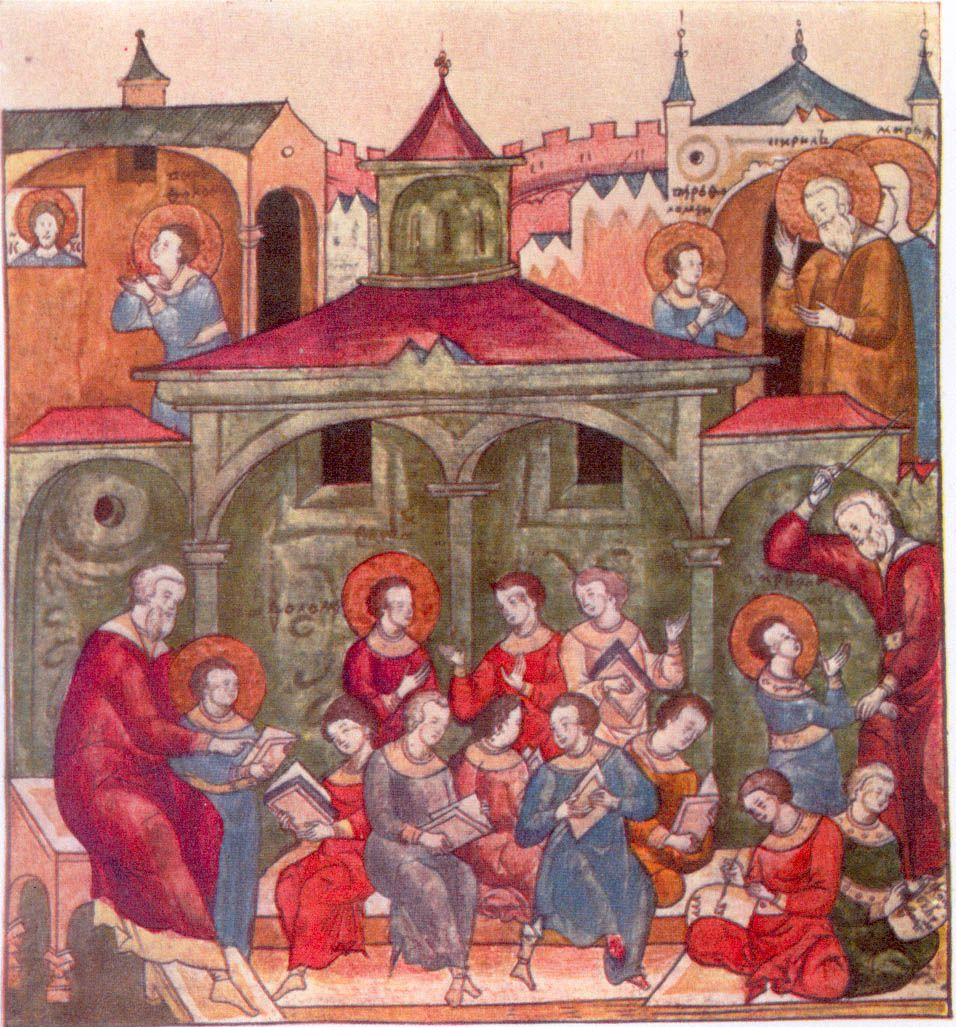 Saint Sergii, as a child (Varfolomei), learning the Word of God. Shown in various poses: First, on the far left, he is shown standing by his teacher. He was not a good student and on the far right, we see him being chastised by his teacher. This illustration comes from Zhitie Sergiia [Life of Sergei], pg 40, originally housed in the Troitskii Monastery, but moved to the Russian State Library, Moscow. Size of original is 12.8 by 11.8 cm.  vern87.jpg (956×1027)