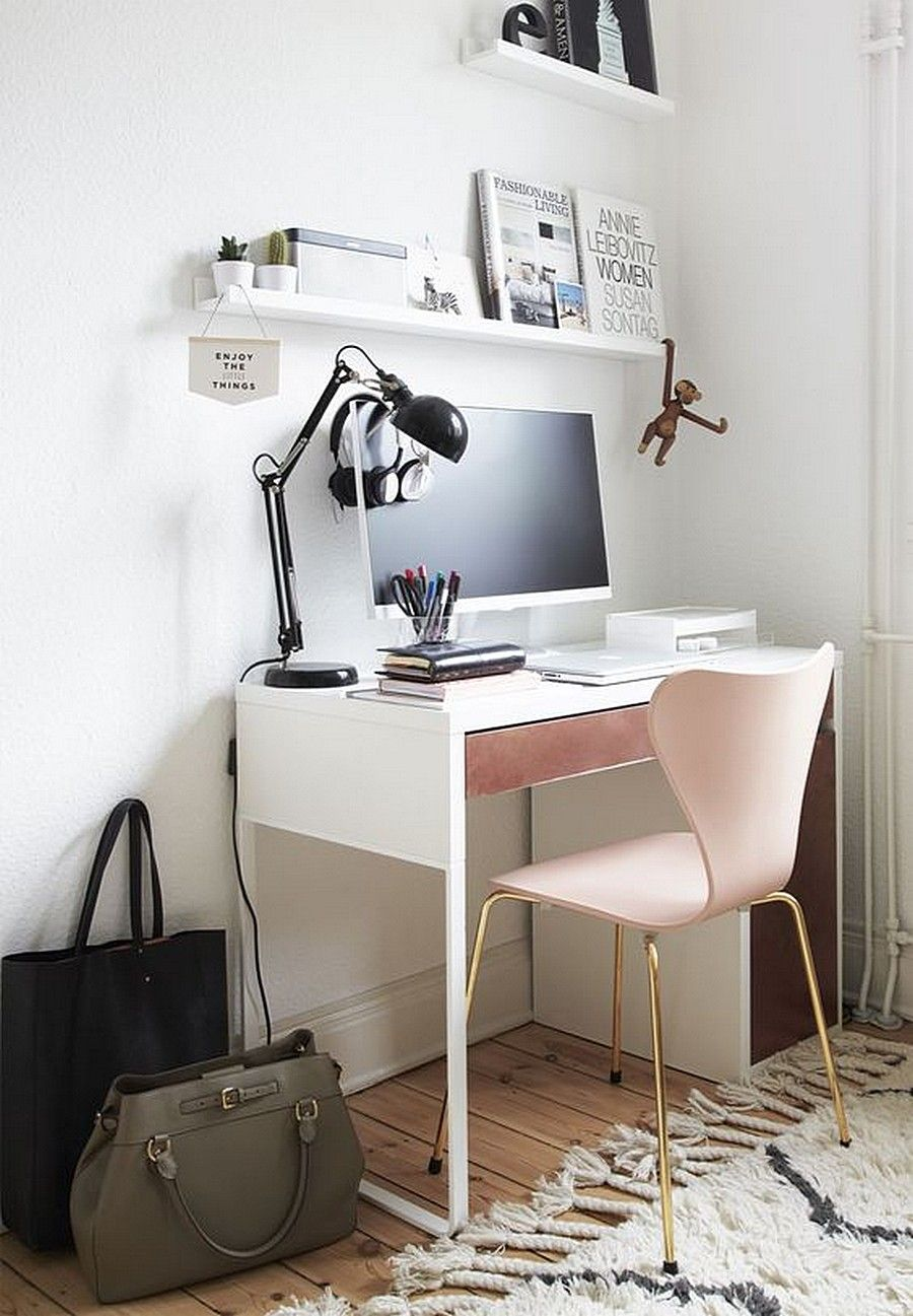 Ikea micke desk in small workspace white walls room • pink • feminine • magazine shelf • small space