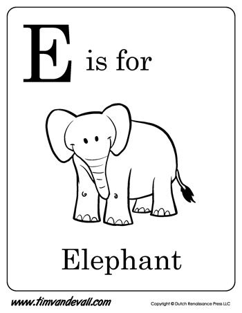 E Is For Elephant Letter E Coloring Page Preschool Pinterest