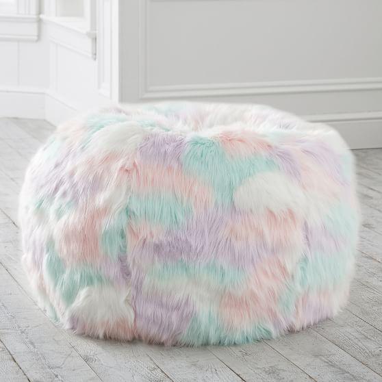 Unicorn Faux Fur Bean Bag Chair In 2020 Faux Fur Bean Bag Bean Bag Chair Fur Bean Bag