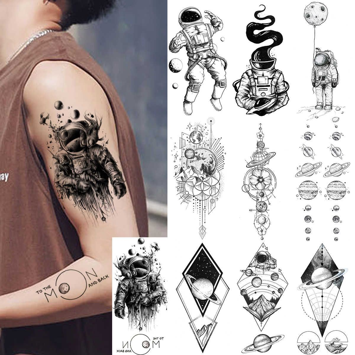 Waterproof Realistic Men Women Fake Tattoos Temporary Cosmonaut Planets Tattoo Sticker Universe Earth Astronaut Body Art Tatoos Temporary Tattoos Aliexpres In 2020 Planet Tattoos Tattoos For Guys Fake Tattoos
