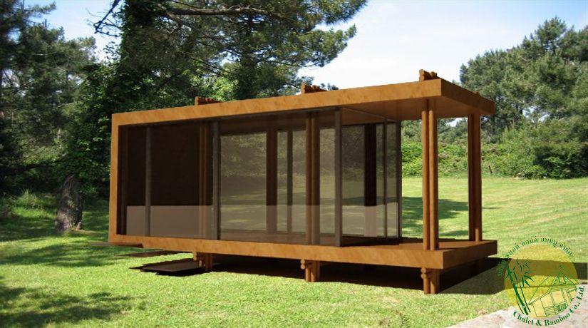 Prefab house in bamboo maison pr fabriqu e en bambou prefabricated house pinterest for Prefab maison