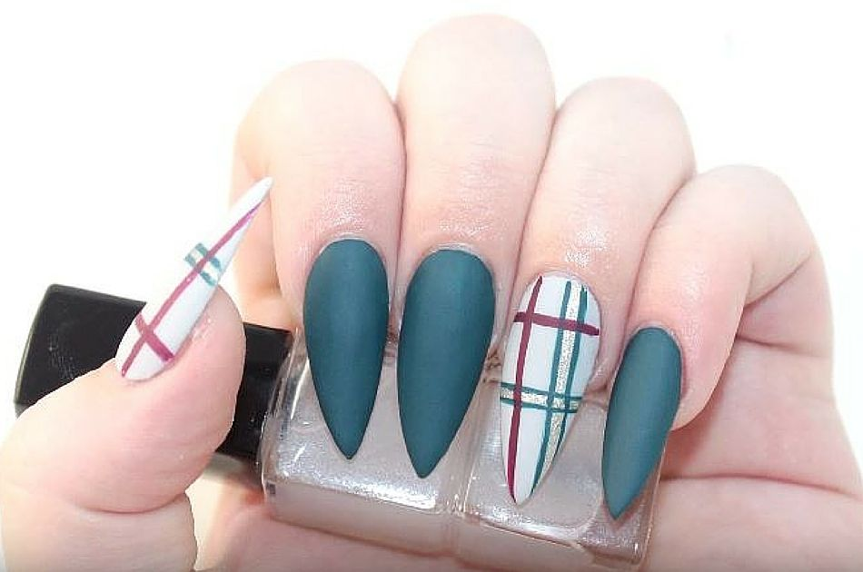 Nail Art Simple Teal Plaid Nails Design Tutorial Pinterest Nagellak