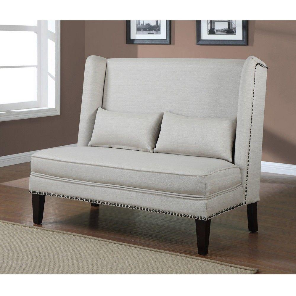 Wing Back Off White Natural Linen Loveseat | Overstock.com ...