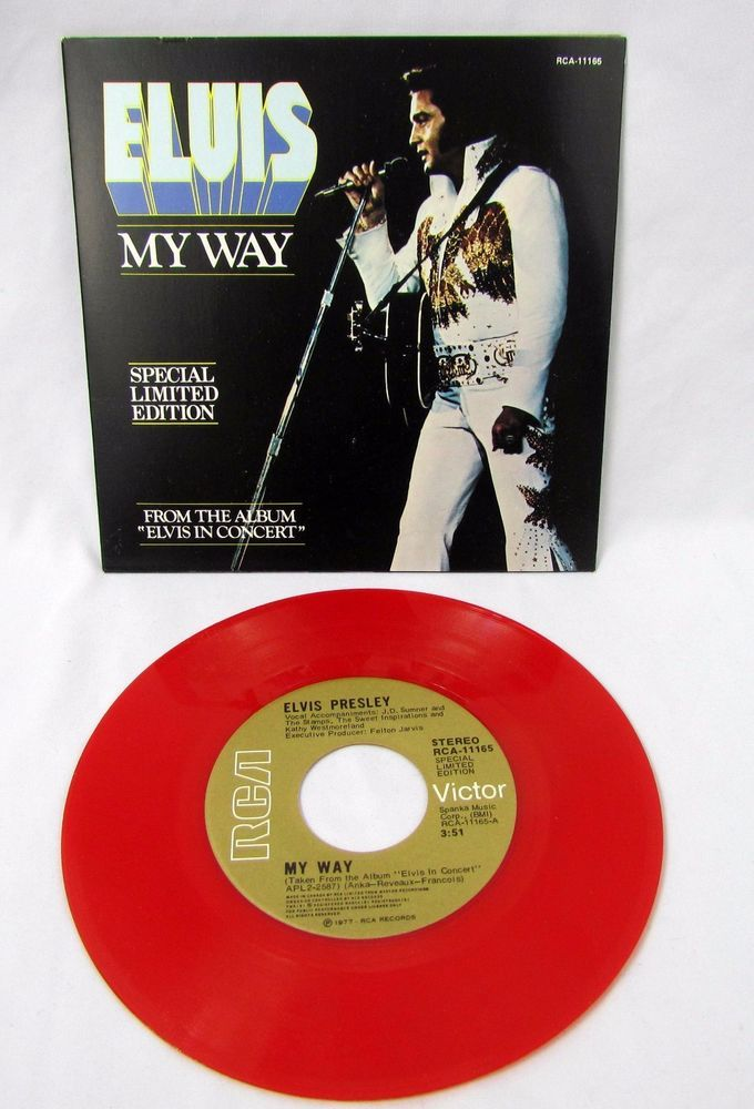 "Elvis Presley - My Way America 7"" 45 Red Vinyl Record RCA 11165 Picture Cover #RocknRoll"