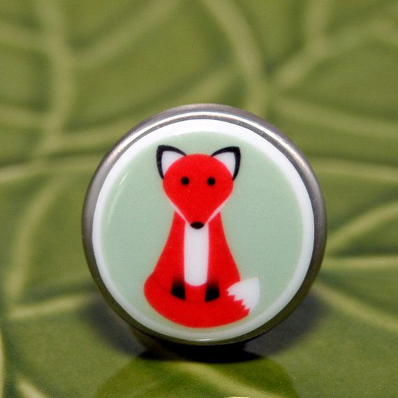 sitting fox porcelain brushed nickel drawer knob by ebonypaws
