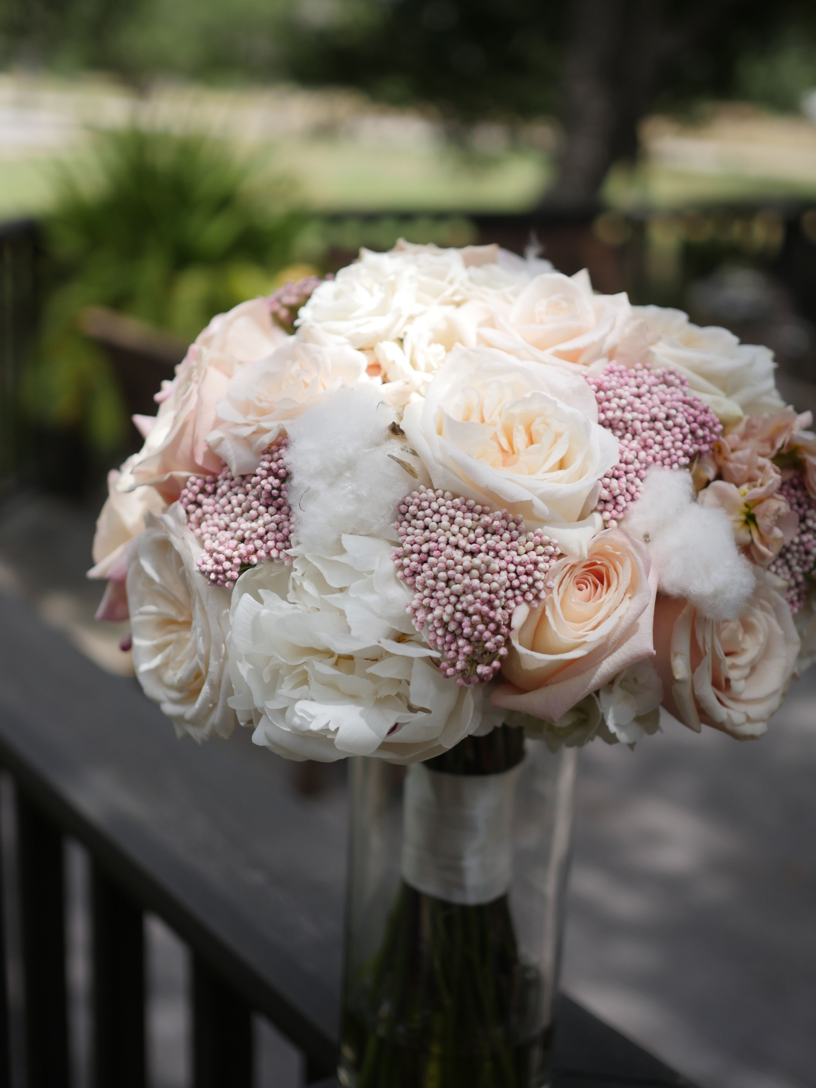 This soft and elegant bouquet was designed with white roses light this soft and elegant bouquet was designed with white roses light pink rice flower and cotton whim florals mightylinksfo