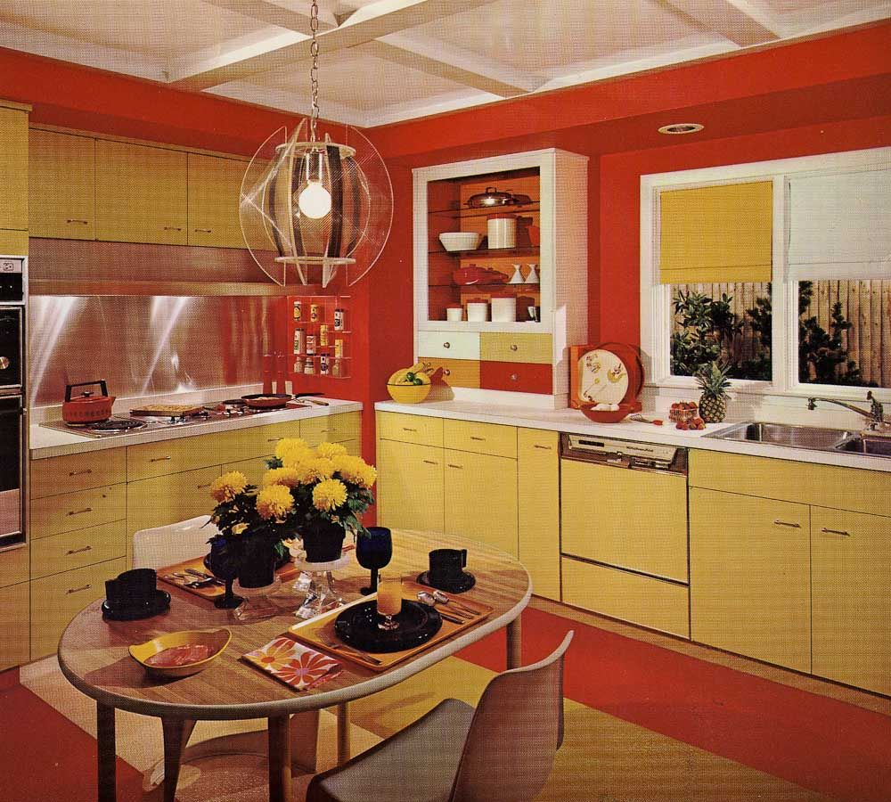 Kitchen Interior Design Styles: One Harvest Gold Kitchen Decorated