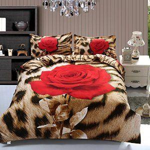 Amazon Com Suncloris 4pcs Queen Size Duvet Cover Set 3d Leopard Rose Print Bedding Set Comforters Duvet Cover Bedding Sets Designer Bed Sheets Rose Bedding Cheap queen size bedding sets