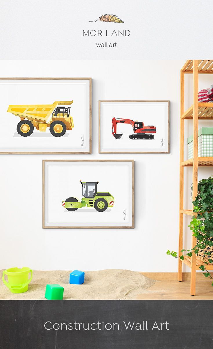 Road Roller Print Wall Art Excavator Mining Truck