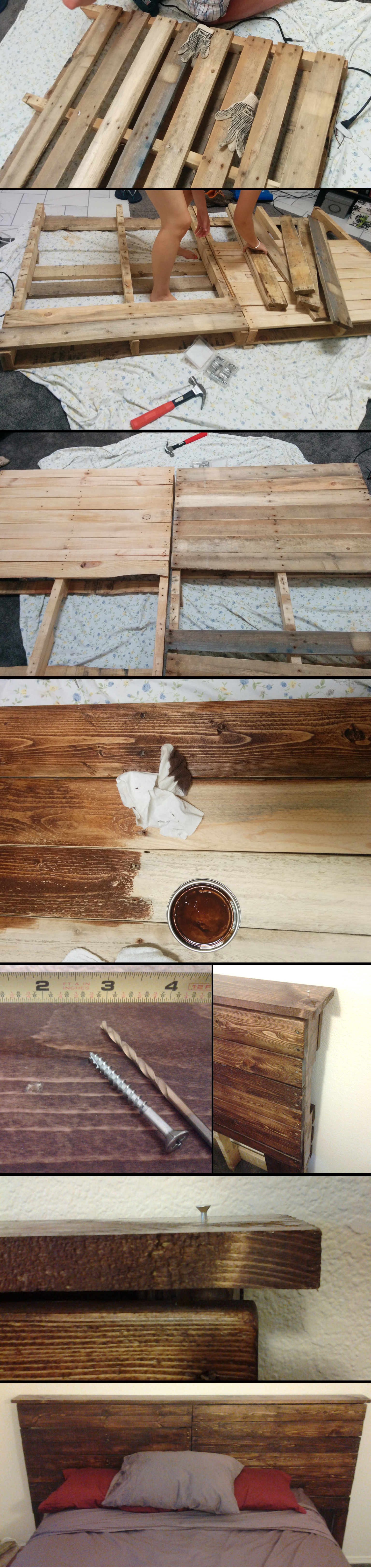 Extra cheap headboard. - Pallets free from a construction ...