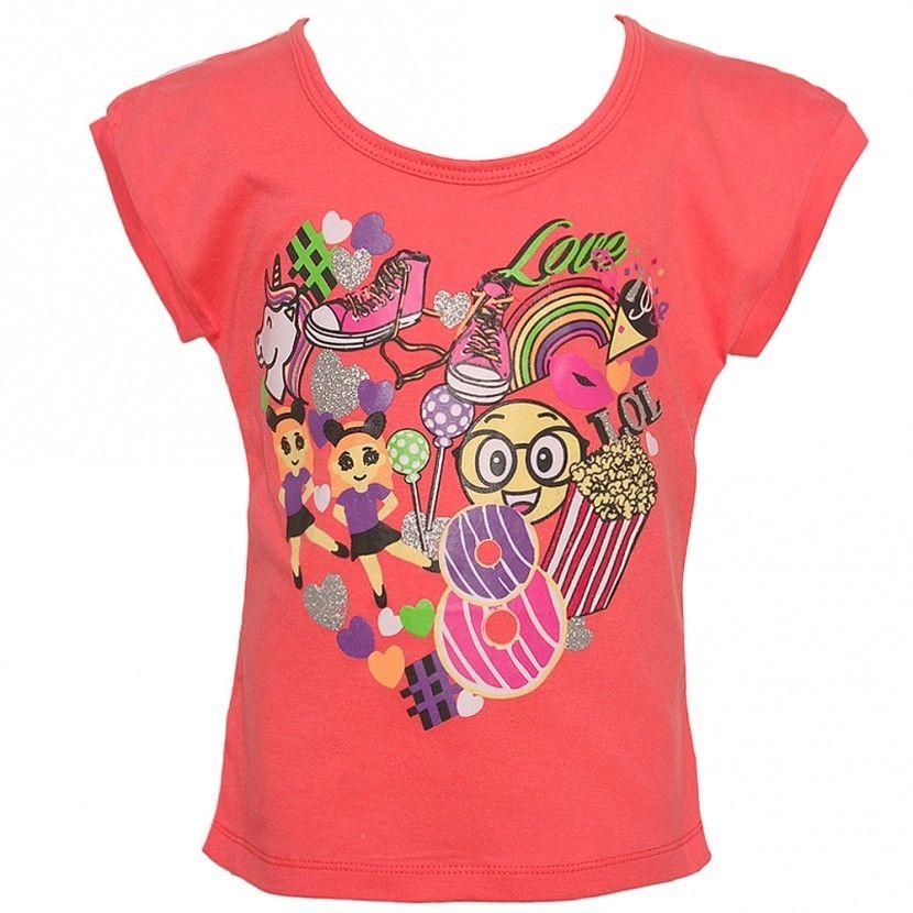 Big Girls Coral Summer Entertainment Print Stripe Short Sleeve T-Shirt 8-12 - Sophia's Style