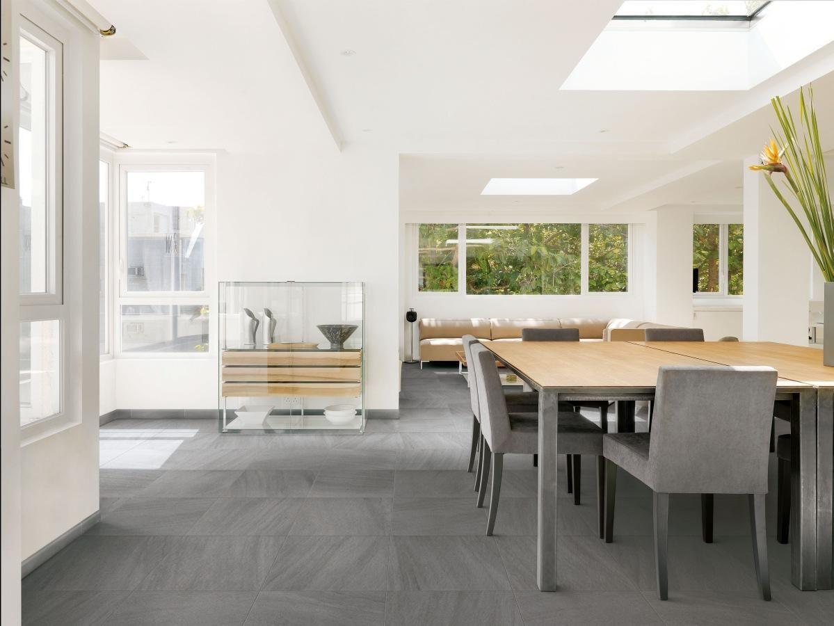 Trendy Stone Tiles Floor In The Minimalist Dining Room Minimalist