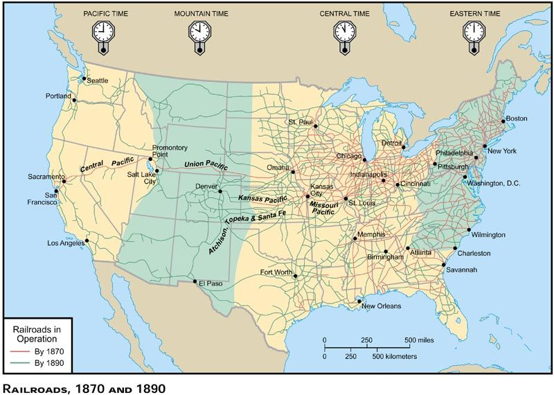 Western Trails Map S Trails West Sciencesocial - Us railroad map 1890