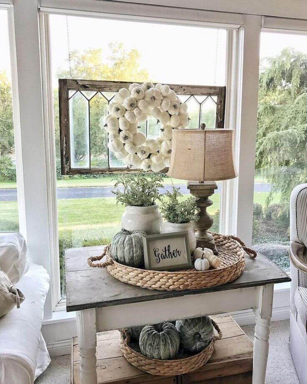 Cute idea using a wicker basket tray for decoration.