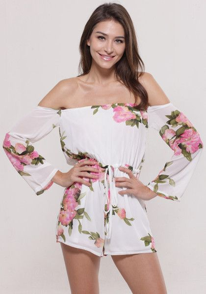 9b1e2afcc3e Make your sweet side be sweeter with this floral off shoulder romper. Keep  it short with this floral romper with its off shoulder neckline.