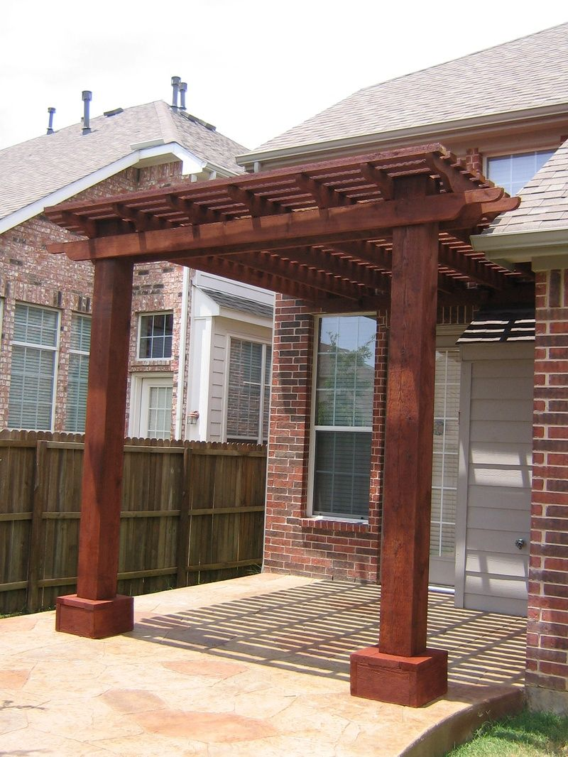 Attached cedar pergola via homeandlawntransformers 2 for Wooden front porch designs