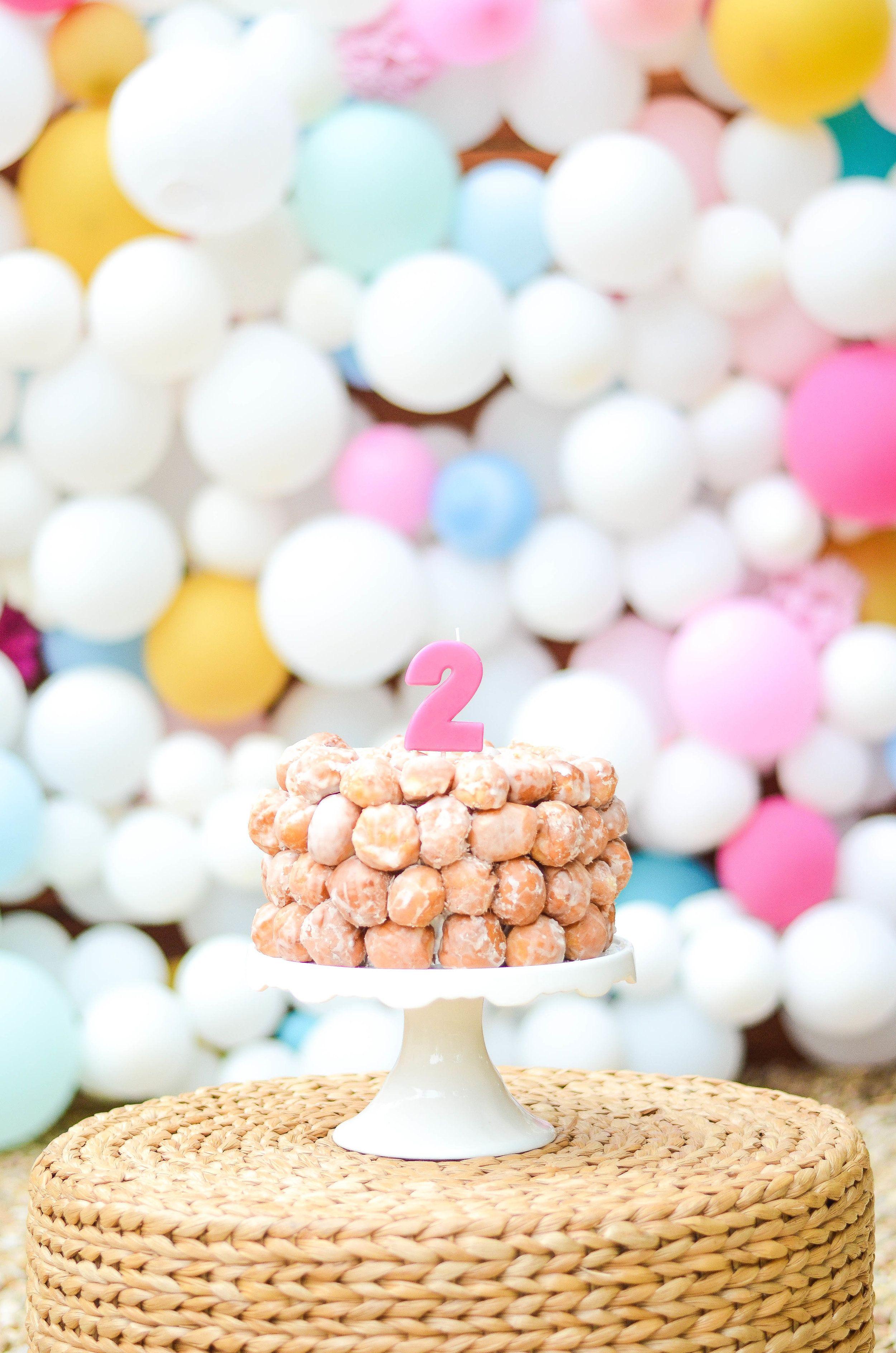 Donut hole cake iron twine birthday cake