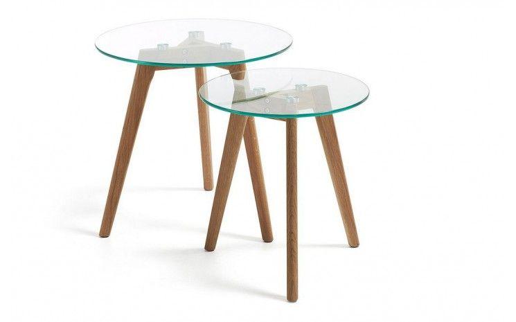 Tables Basses Gigones Ronde En Verre Et Pieds Bois Verras En Verre Table D Appoint Table Basse Table Basse Design Italien