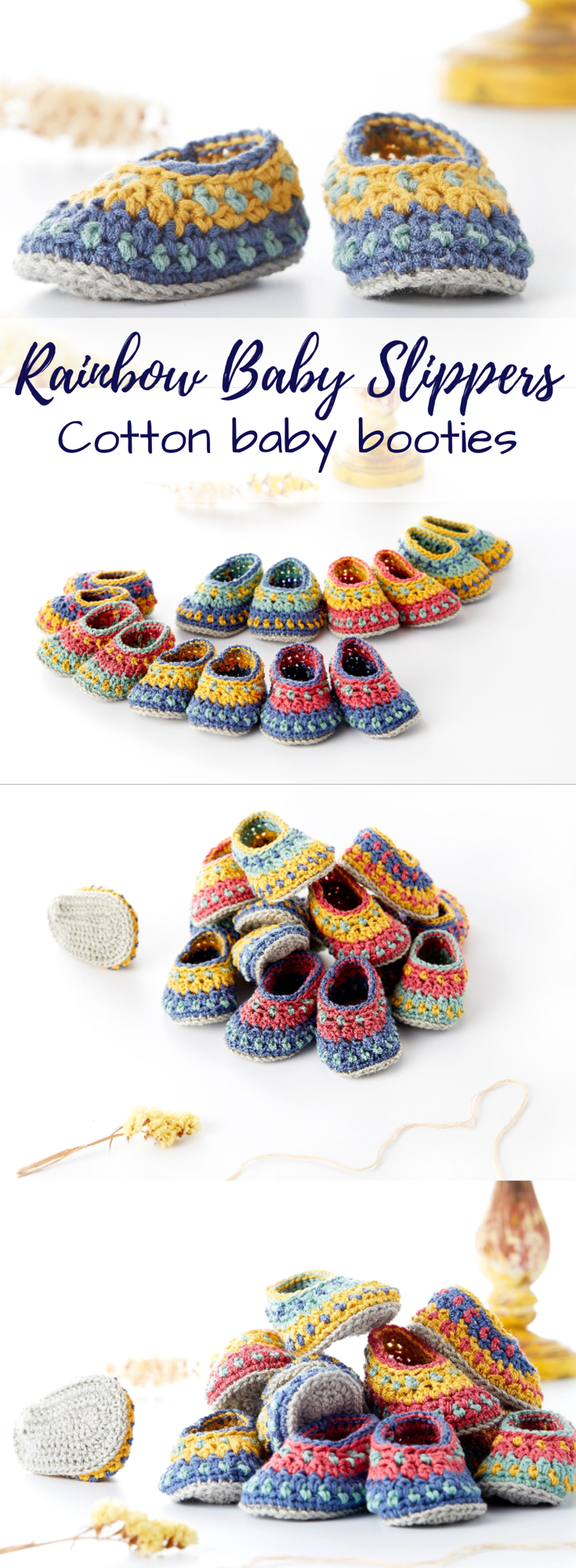 Cotton rainbow baby booties. What cute slippers! Gorgeous colours ...