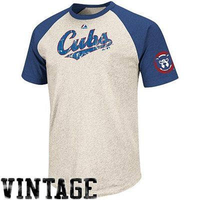 61f50506bf30 Majestic Chicago Cubs Cooperstown Collection All-Star Raglan T-Shirt -  Natural Royal