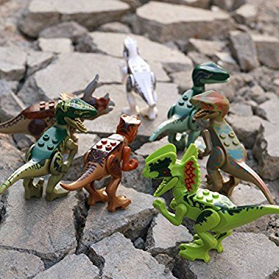NUOLUX Dinosauro Giocattolo Dinosaur Building Blocks Jurassic World Dinosaur Miniature Action Figures 8pcs